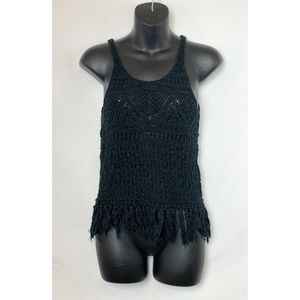 MOSSIMO Black Crochet Tank Top with String Fringe
